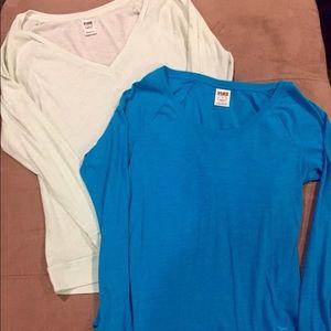 Victoria's Secret PINK long sleeve blue t shirts